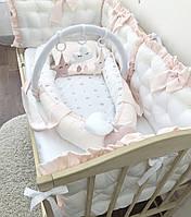 Кокон, гнездышко для новорожденных, кокон-гнездышко с дугой и игрушками, кокон для девочки