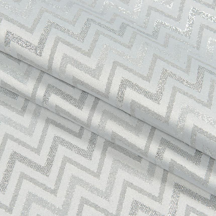 Декоративная новогодняя ткань с серебристым люрексом Зигзаг Светло-серый