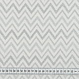 Декоративная новогодняя ткань с серебристым люрексом Зигзаг Светло-серый, фото 2
