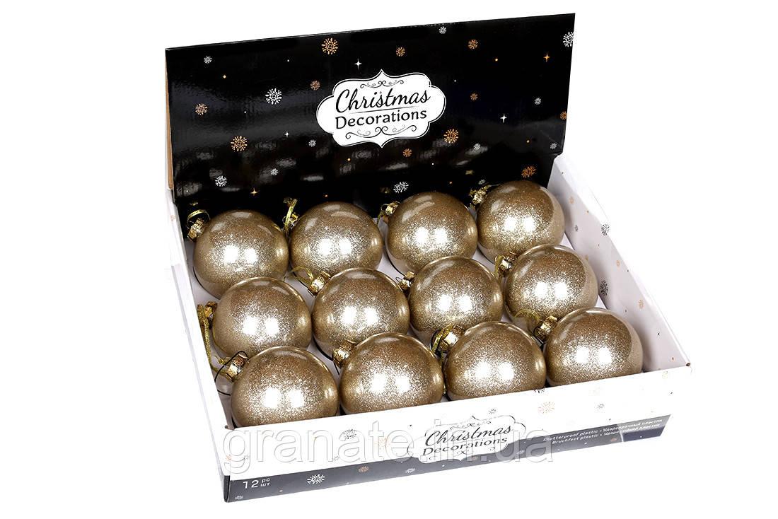 Набор елочных шаров 10см, цвет - золотой с глиттером внутри, набор -12 шт