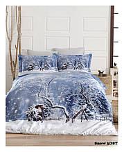 Новогодний комплект постельного белья сатин 3d First Choice евро размер Snow