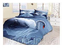 Комплект постельного белья сатин 3d First Choice евро размер Swan Lacivert