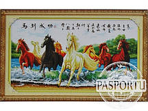 Набор для вышивки картины Лошади в реке 119х67см
