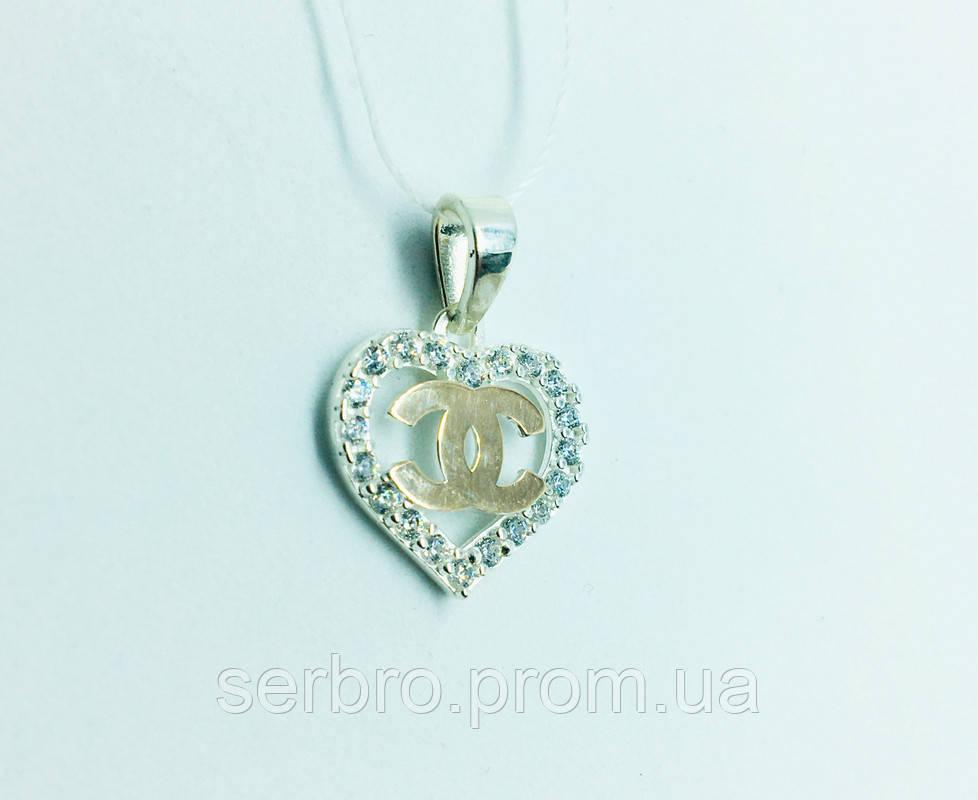 Серебряный подвес в виде сердца Love