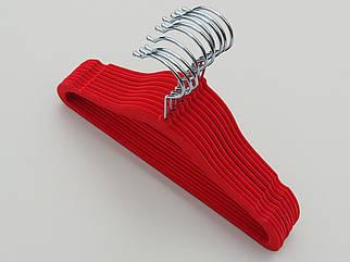 Плечики детские флокированные (бархатные, велюровые) красного цвета, длина 29,5 см, в упаковке 10 штук
