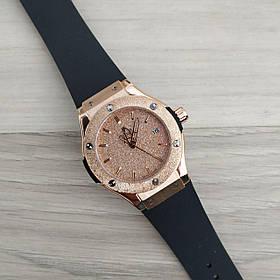 Часы Женские Hub**t Shine Black-Cuprum Small черные с золотом, Ремешок Каучук