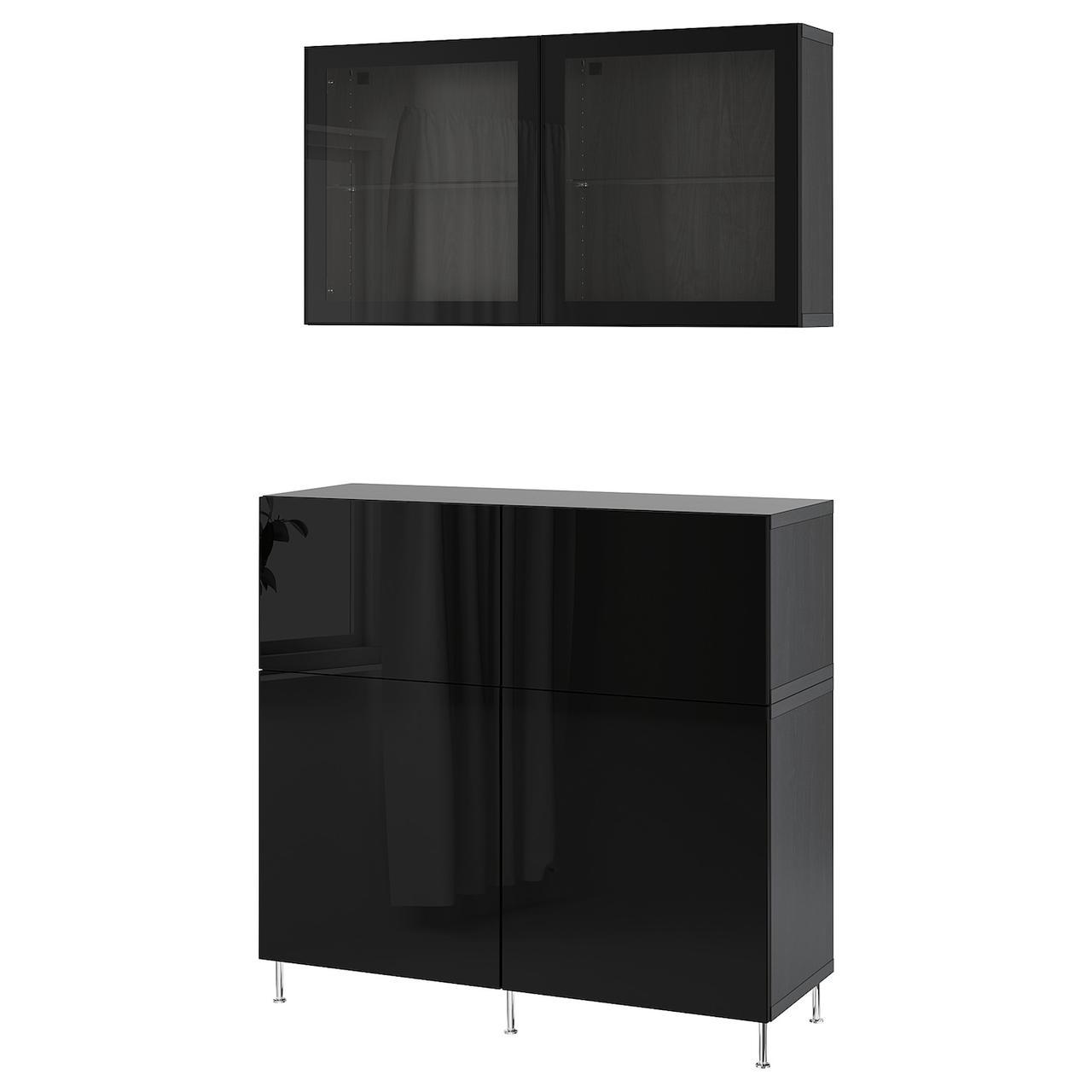 IKEA BESTÅ Комбинация regałowa с двери/ящики с организац/Selsviken/Stallarp блеск/черный прозрачное стекло