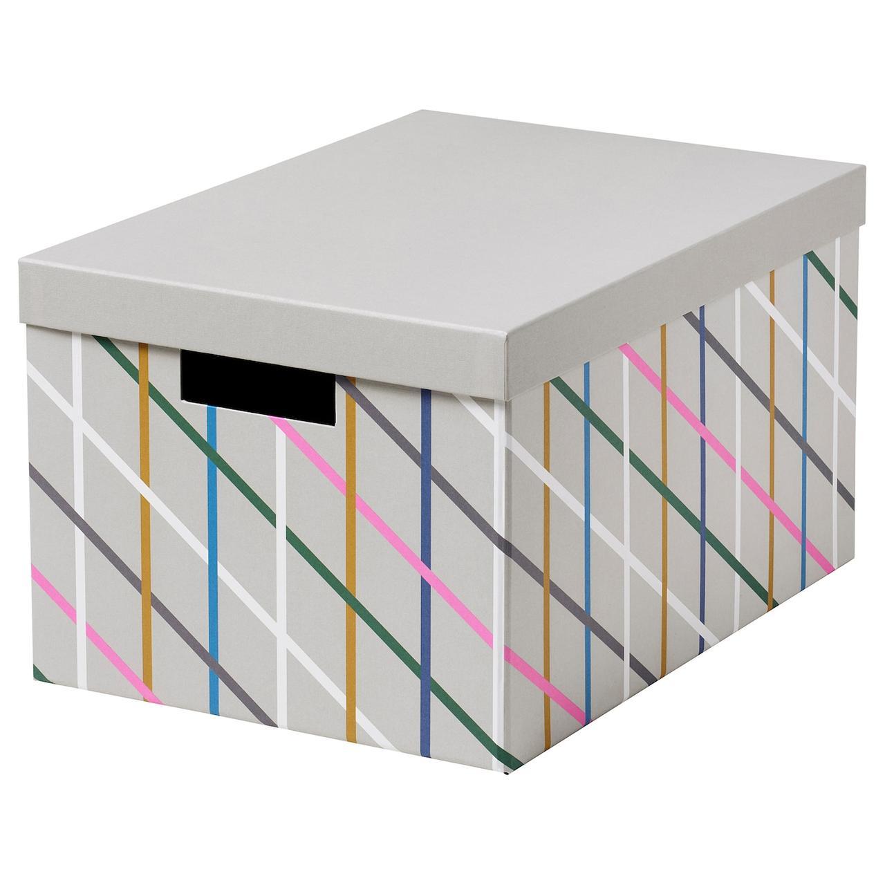 IKEA TJENA Контейнер с крышкой,разноцветный/бумага 25x35x20 см