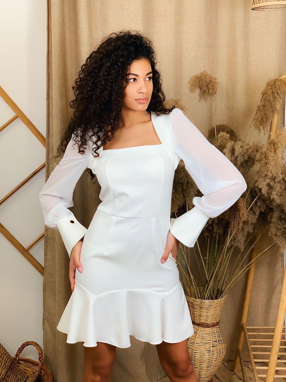 Платье по фигуре с квадратным вырезом и оборкой ( р. S - M) 63plt1778