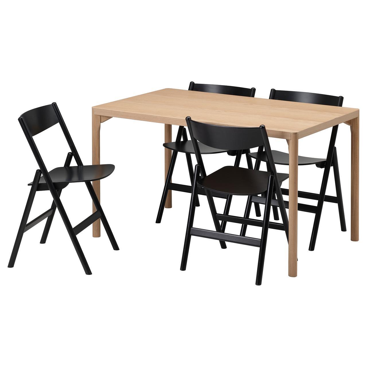 IKEA RÅVAROR Стол и 4 стула, 130x78 см