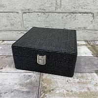 Шкатулка для украшений 7740 Черный. Шкатулка для украшений из эко кожи с блеском