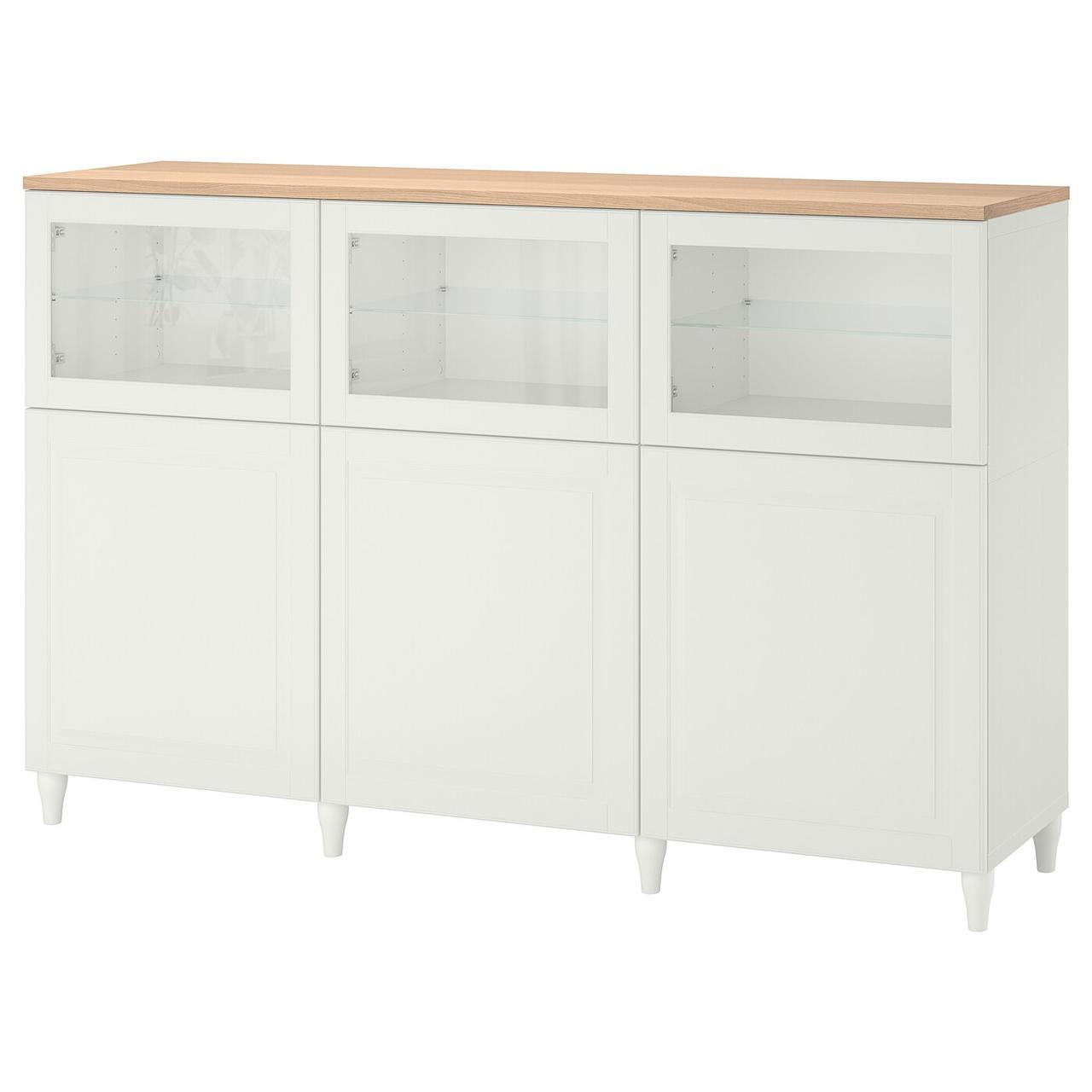 IKEA BESTÅ Комбинация с дверцами белый/Smeviken/Kabbarp белый прозрачное стекло 180x42x114 см