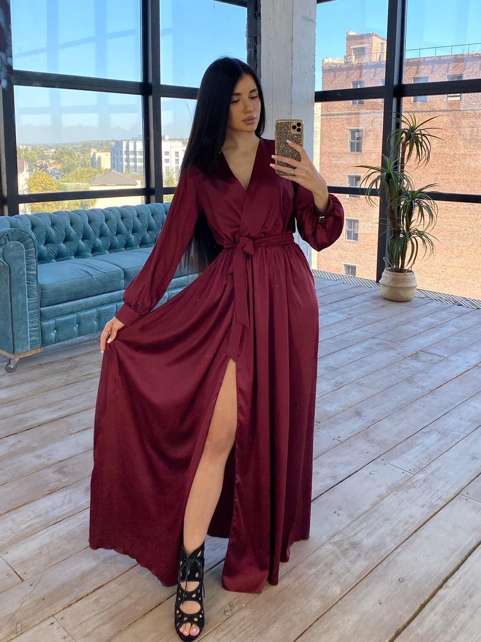 Шелковое длинное платье на запах с расклешенной юбкой (р. S-M) 66plt1785Q