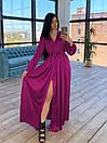 Шелковое длинное платье на запах с расклешенной юбкой (р. S-M) 66plt1785Q, фото 2