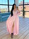 Шелковое длинное платье на запах с расклешенной юбкой (р. S-M) 66plt1785Q, фото 4
