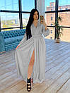 Шелковое длинное платье на запах с расклешенной юбкой (р. S-M) 66plt1785Q, фото 6
