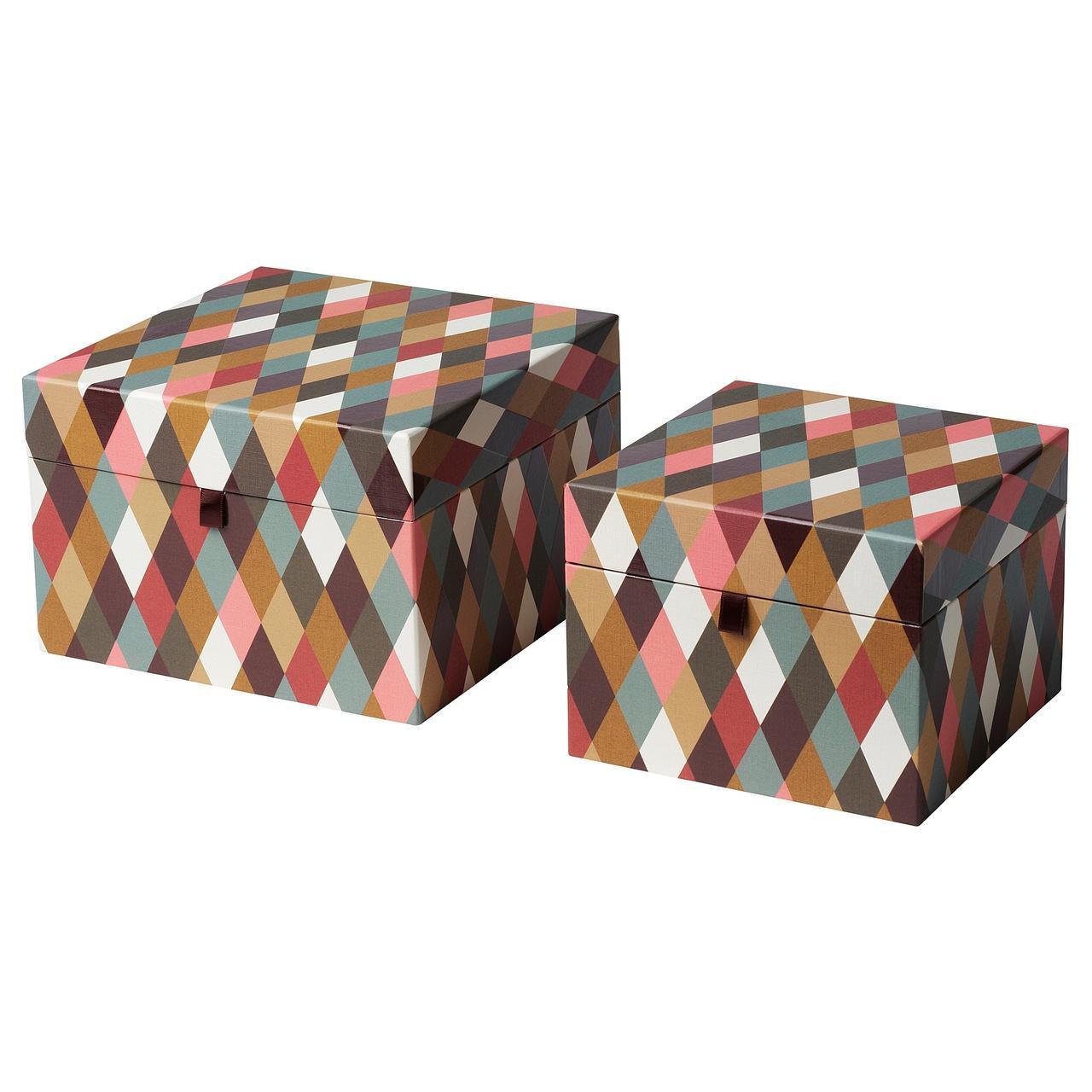 IKEA DEKORERA Коробка с крышкой, 2 шт., шаблон алмаза разноцветные
