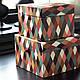 IKEA DEKORERA Коробка с крышкой, 2 шт., шаблон алмаза разноцветные, фото 2