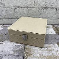 Шкатулка для украшений 7740 Белый. Шкатулка для украшений из эко кожи с блеском, фото 1