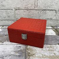 Шкатулка для украшений 7740 Красный. Шкатулка для украшений из эко кожи с блеском