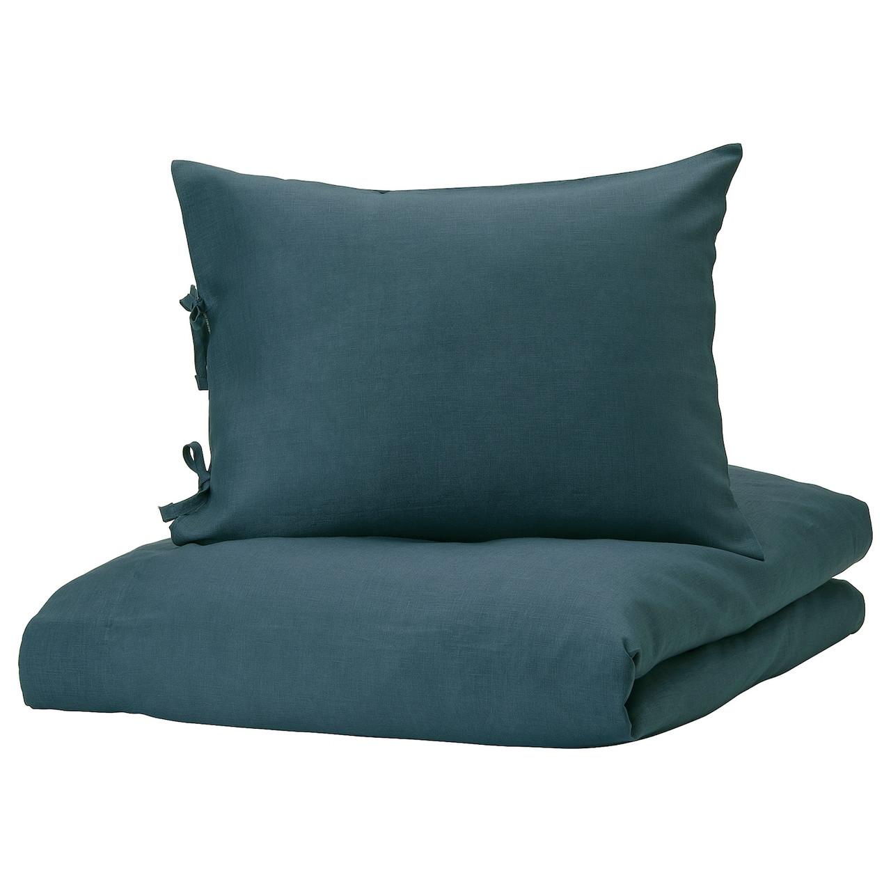 IKEA PUDERVIVA Комплект постельного белья, темно-синий, 150x200/50x60 см