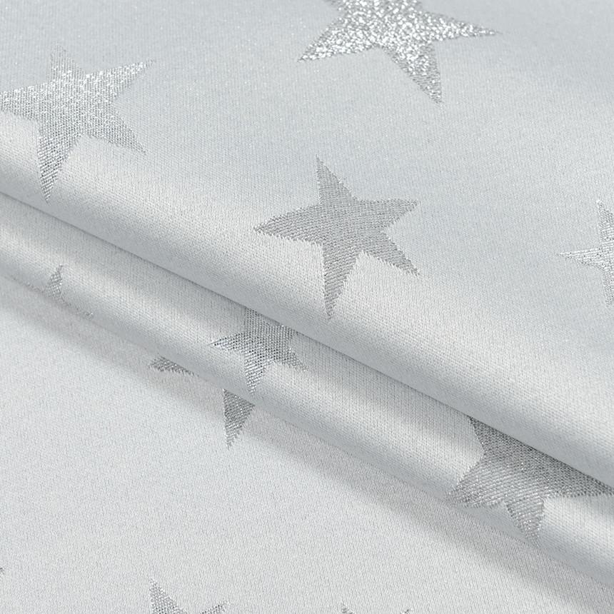 Декоративная новогодняя ткань с серебристым люрексом Звезды Светло-серый