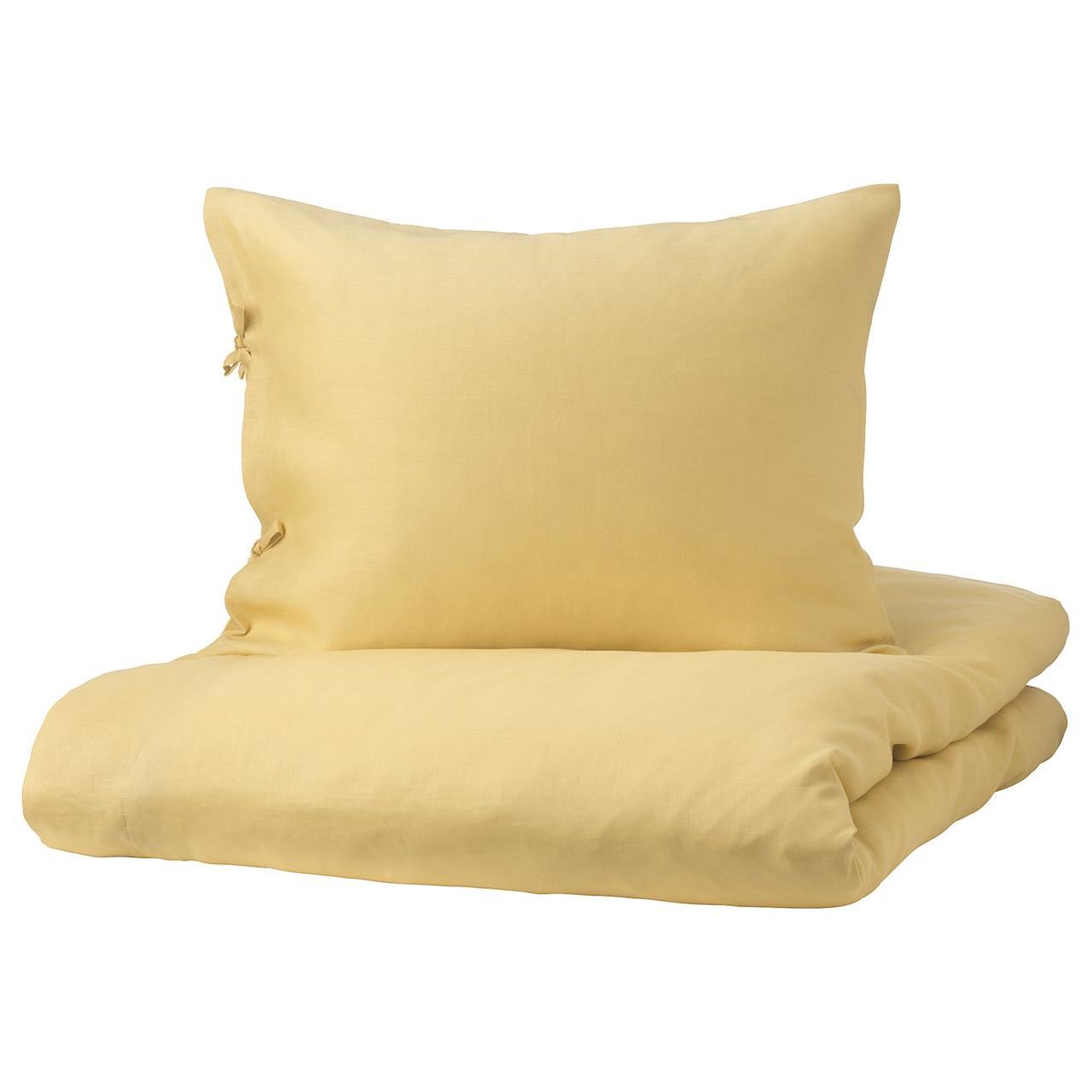 IKEA PUDERVIVA Комплект постельного белья, светло-желтый 200x200/50x60 см