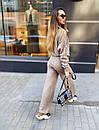 Вязаный женский костюм с шерстью и узорами на кофте, штаны клеш (р. 42-46) 36kos1496, фото 3