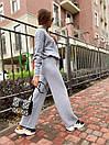 Вязаный женский костюм с шерстью и узорами на кофте, штаны клеш (р. 42-46) 36kos1496, фото 7