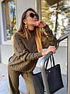 Вязаный женский костюм с шерстью и узорами на кофте, штаны клеш (р. 42-46) 36kos1496, фото 8