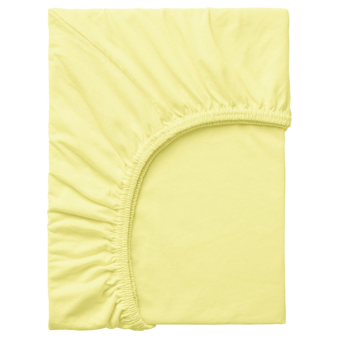 IKEA LEN Простыня с резинкой, желтый 80x165 см