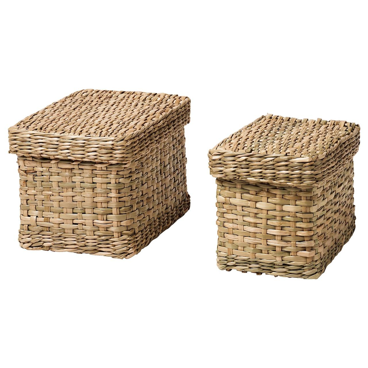 IKEA LURPASSA Коробка с крышкой 2 шт., морская трава