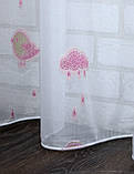 """Тюль на шифоновой основе с вышивкой """"Розовая птичка"""". Код 528т, фото 3"""