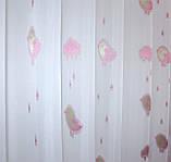 """Тюль на шифоновой основе с вышивкой """"Розовая птичка"""". Код 528т, фото 4"""