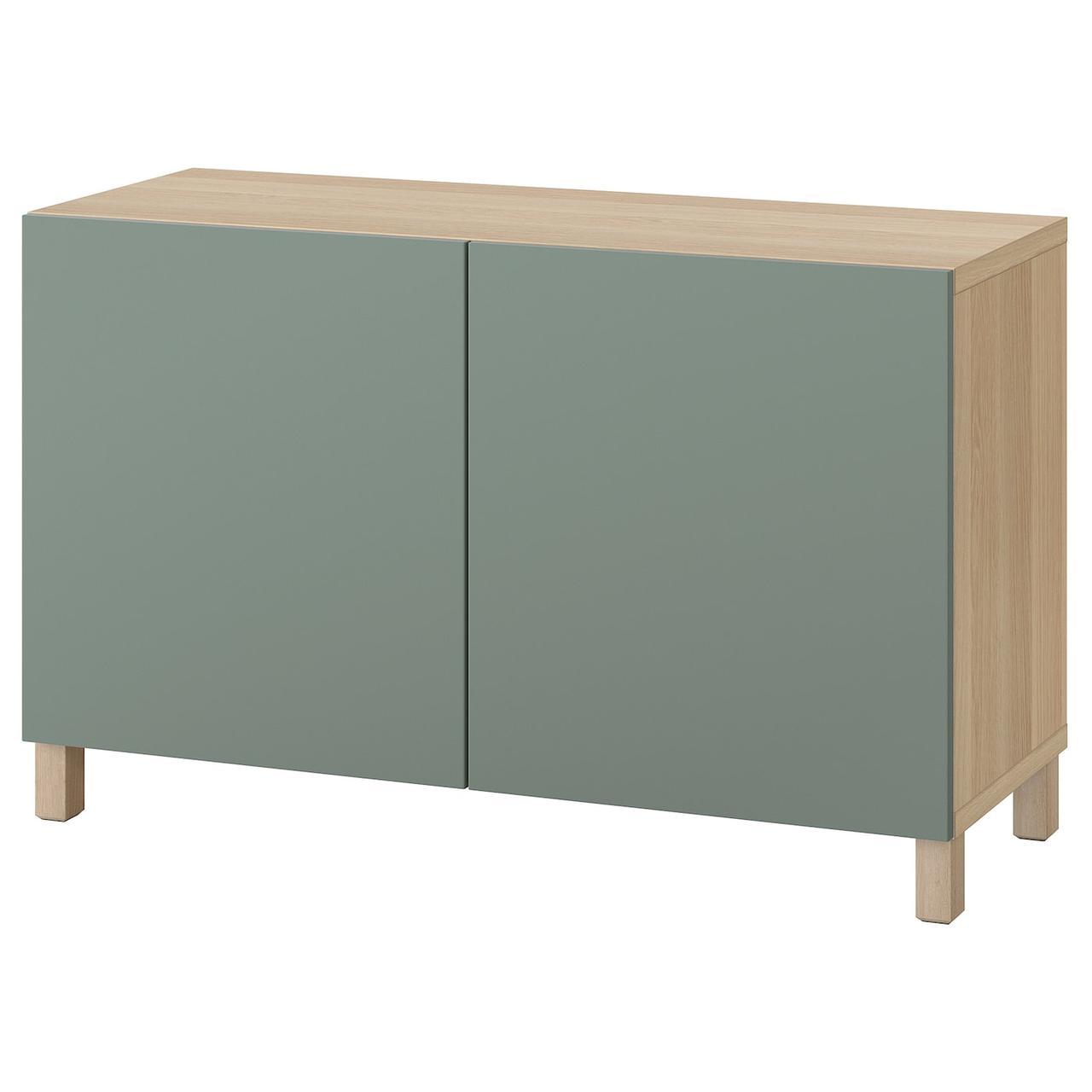 IKEA BESTÅ Комбінація з дверцятами дуб bejcowany на біло/Notviken/Stubbarp полину 120x42x74 см