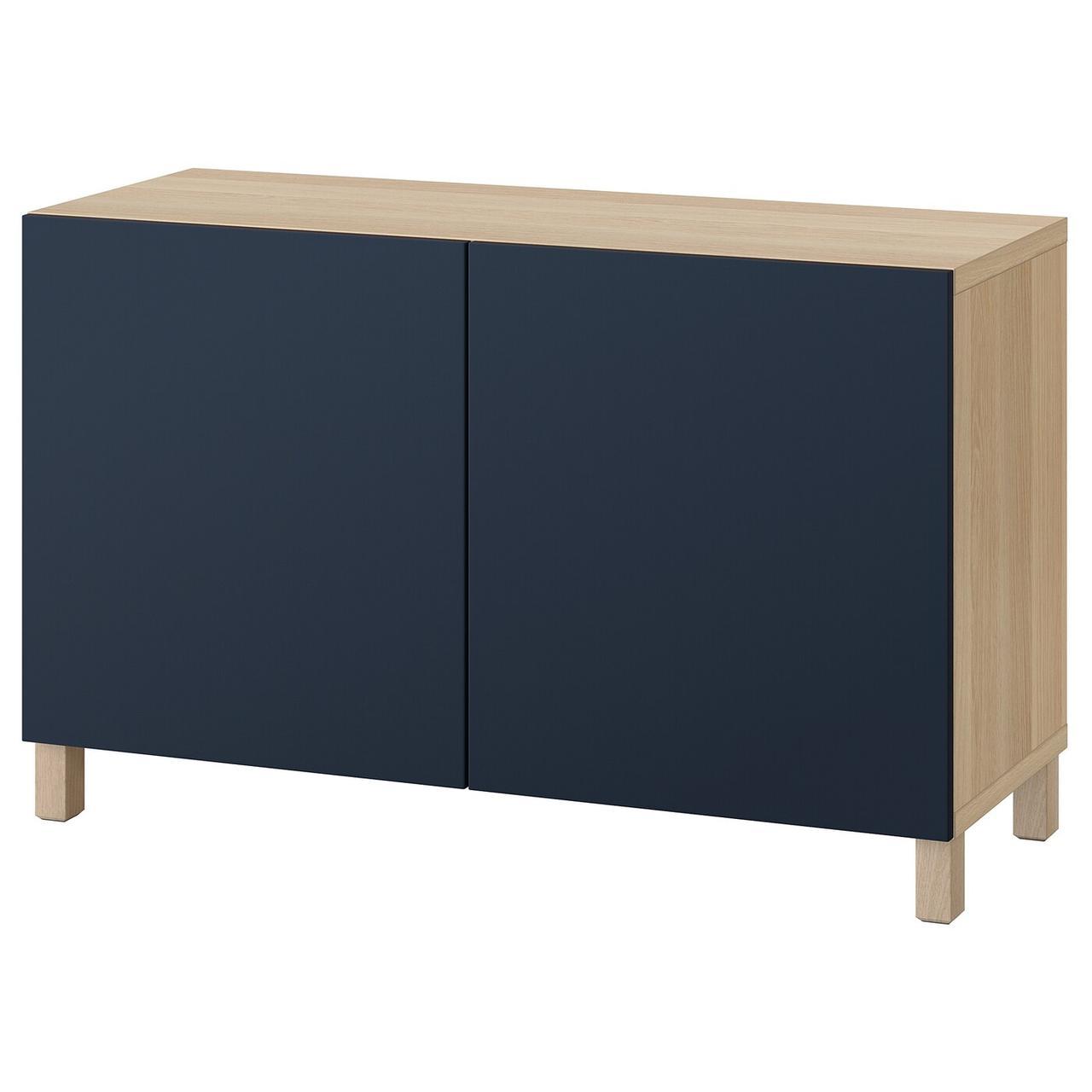 IKEA BESTÅ Комбинация с дверцами дуб bejcowany на бело/Notviken/Stubbarp синий 120x42x74 см