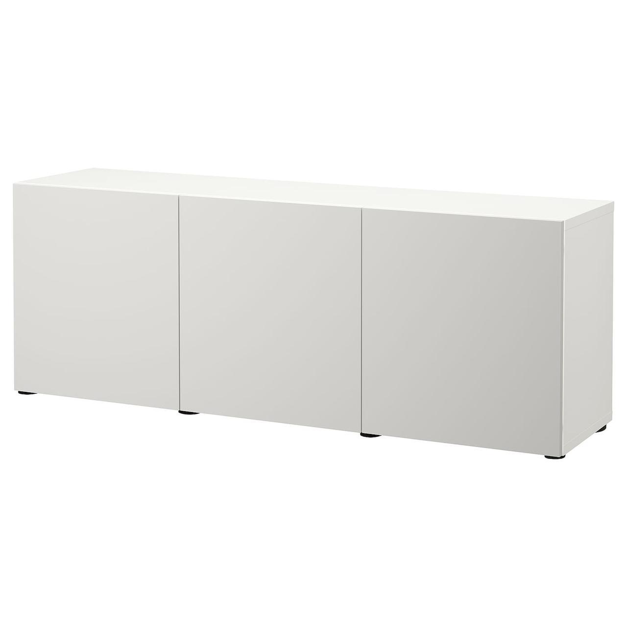 IKEA BESTÅ Комбінація з дверцятами білий/Lappviken світло - 180x42x65 см