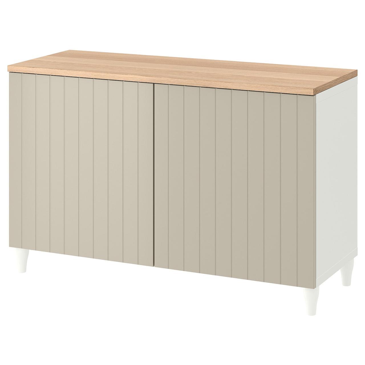 IKEA BESTÅ Комбінація з дверцятами білий/Sutterviken/Kabbarp szarobeżowy 120x42x76 см