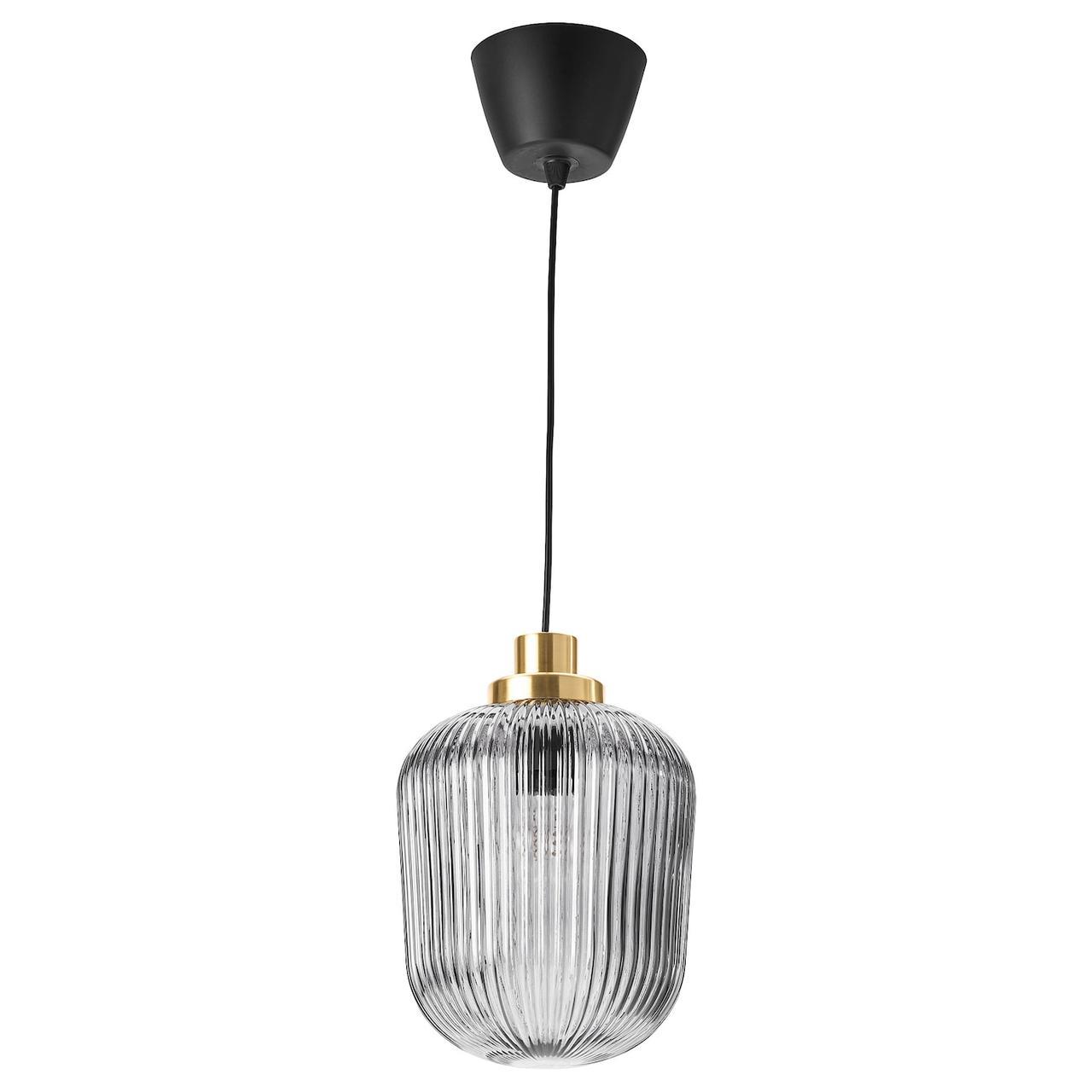 IKEA SOLKLINT Подвесной светильник, латунь/ прозрачное стекло 22 см