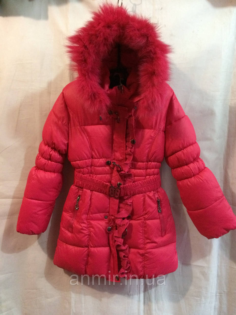 Полупальто зимнее для девочки 4-8 лет,Розовое, фото 1