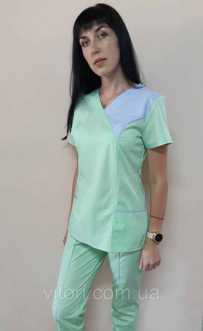 Женский медицинский костюм Грация коттон короткий рукав