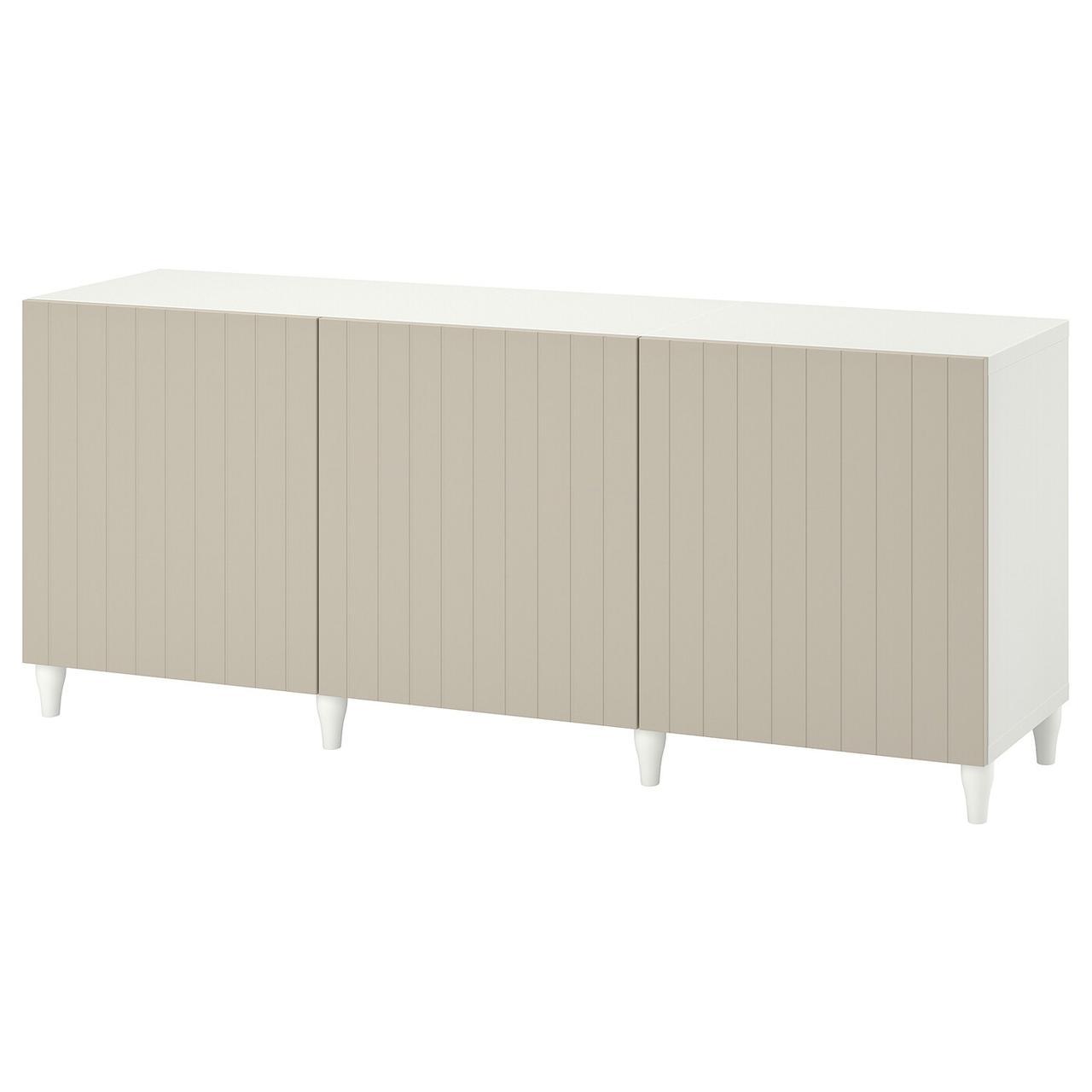 IKEA BESTÅ Комбінація з дверцятами білий/Sutterviken/Kabbarp szarobeżowy 180x42x74 см