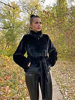 Женский черный полушубок с воротником стойкой и с поясом 39msh158, фото 1
