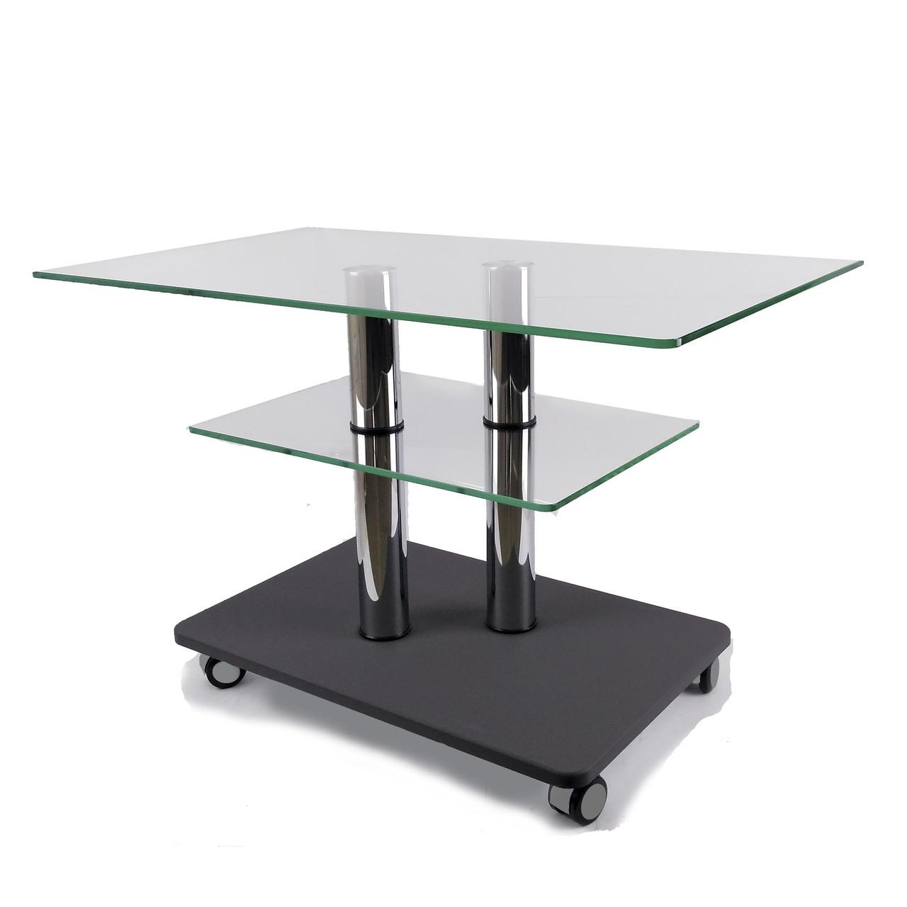 Стеклянный журнальный стол прямоугольный Commus Bravo Max P cc-gray-2chr60