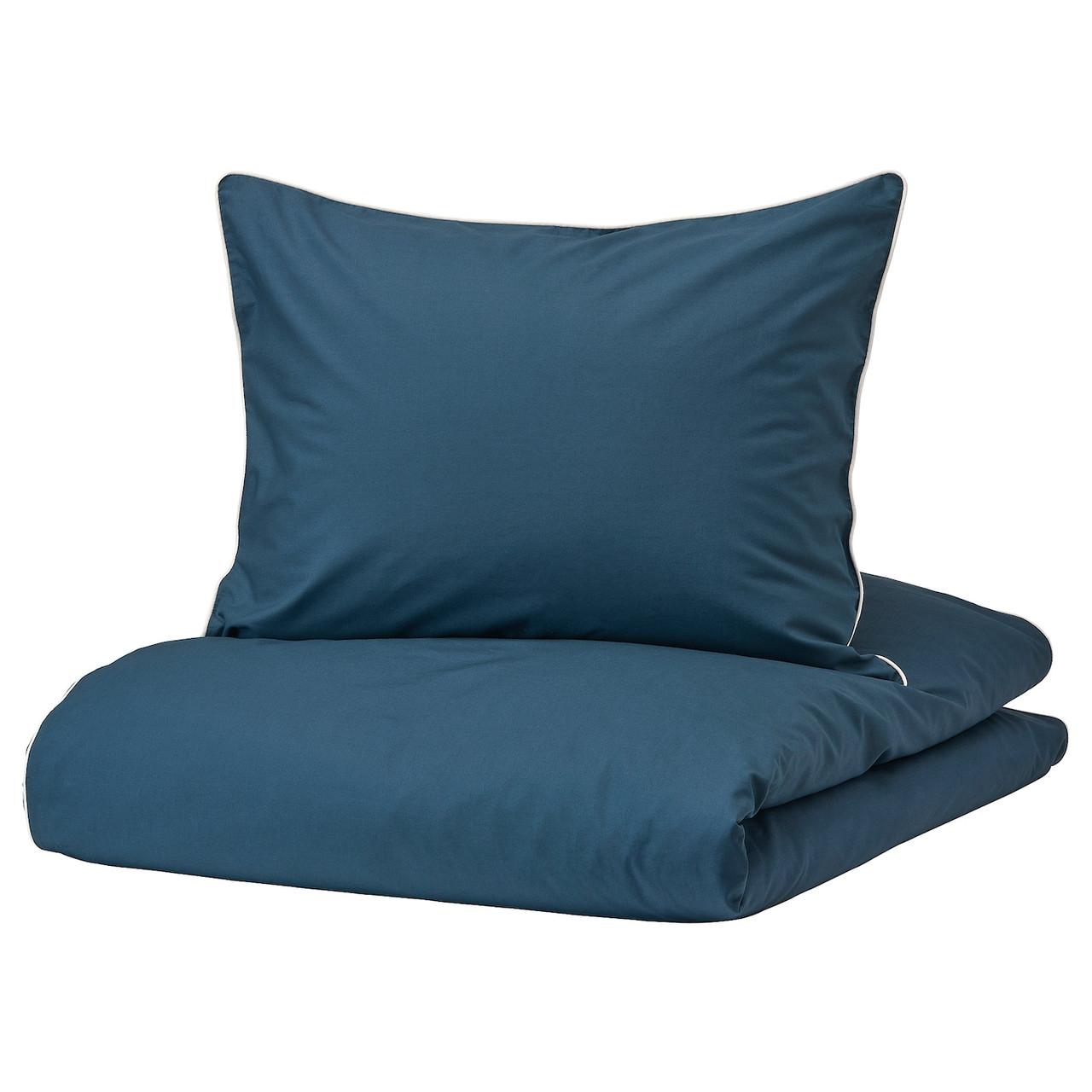 IKEA KUNGSBLOMMA Комплект постельного белья, темно-синий/белый, 200x200/50x60 см