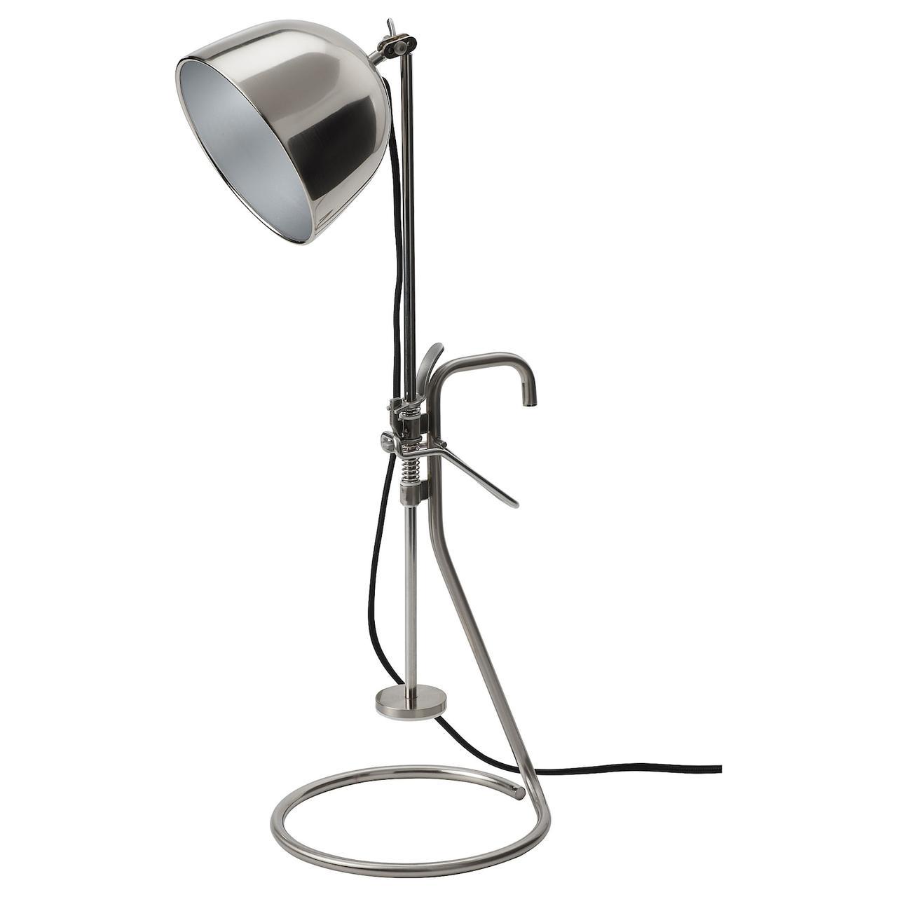 IKEA RÅVAROR Настольная лампа с зажимом, нержавеющ сталь