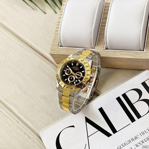 Годинники Чоловічі Rolex (Ролекс) Silver-Gold-Black, Браслет сріблясто-золотий, Чорний ЦФ,