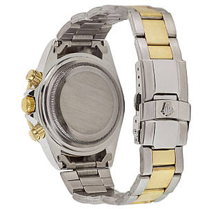 Годинники Чоловічі Rolex (Ролекс) Silver-Gold-Black, Браслет сріблясто-золотий, Чорний ЦФ,, фото 2