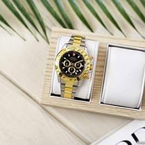 Годинники Чоловічі Rolex (Ролекс) Silver-Gold-Black, Браслет сріблясто-золотий, Чорний ЦФ,, фото 3