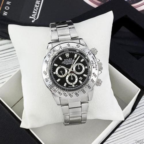 Часы Мужские Rolex Daytona Quartz Date Silver-Black, Браслет серебряный, Черный цф